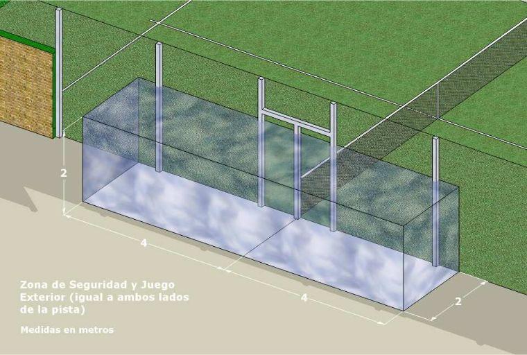 Esuqema y medidas de la zona de seguridad exterior de la pista de padel para juego exterior