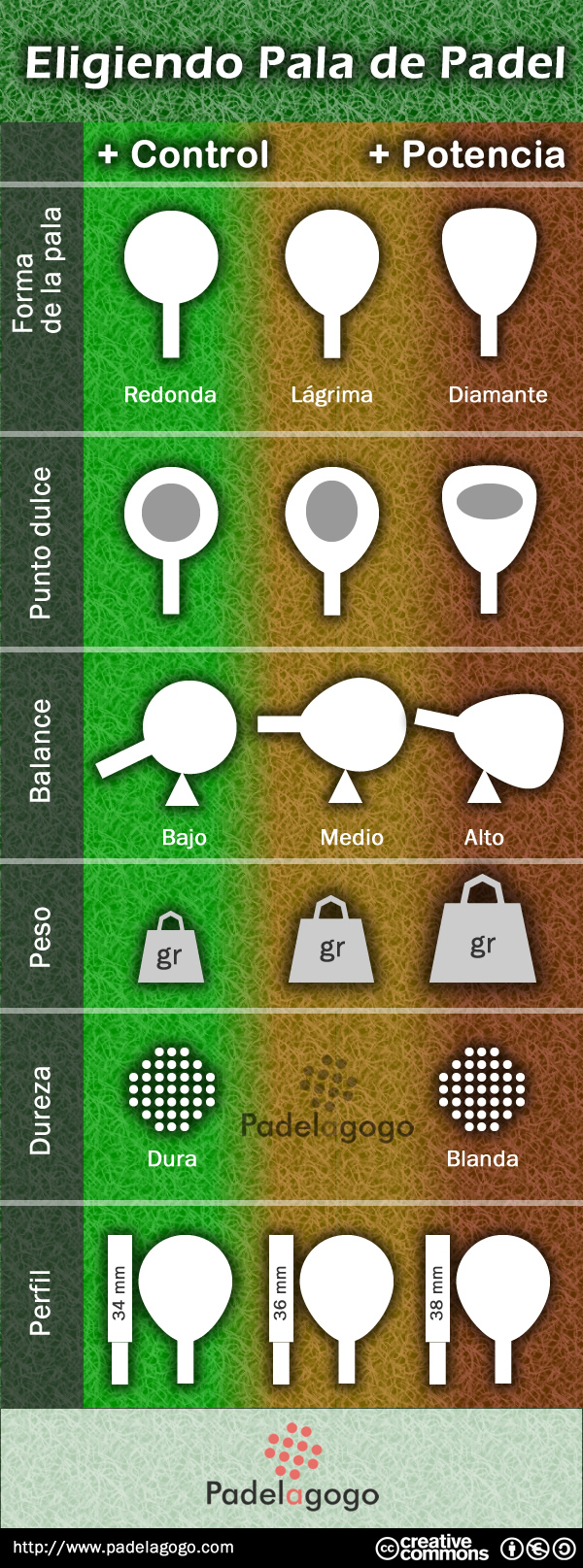 elegir tu pala de padel con esta infografía