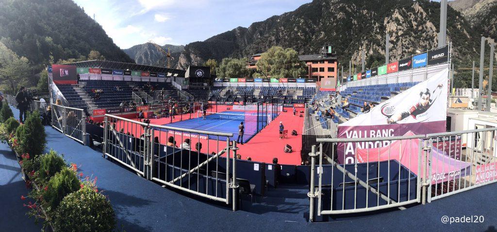 Panorámica de la pista central del World Padel Tour Andorra Open en Principadel