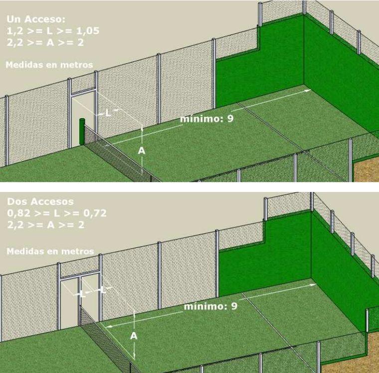 Imagen con detalle de las dimensiones de las pertas de acceso a la pista de padel