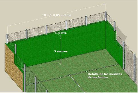 Detalle de los cerramientos y fondos de la pista de padel