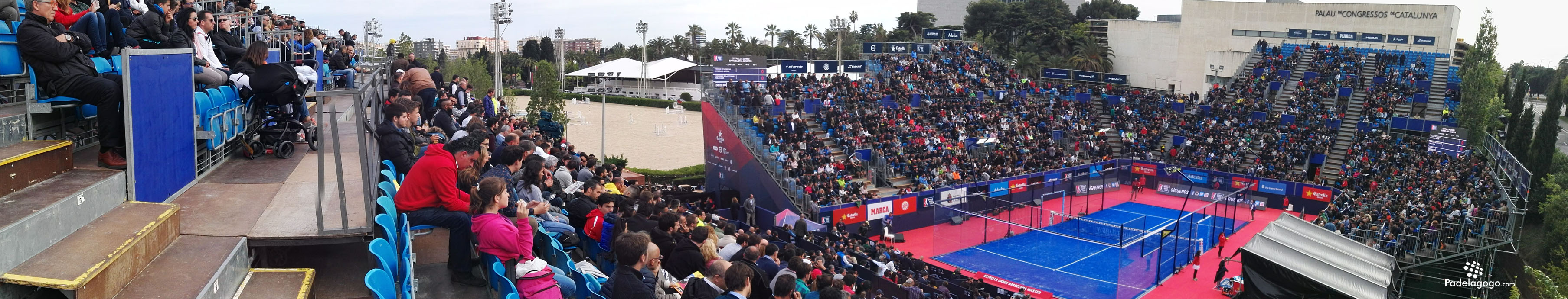 Vista panorámica de la pista central del World Padel Tour barcelona master en el real Club de Polo de Barcelona