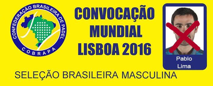Pablo Lima fuera de la seleción Brasileña para el mundial de padel