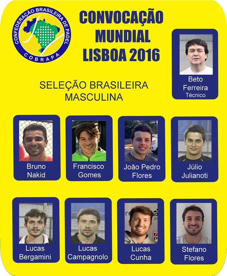 Selección Brasileña para el Mundial de Padel 2016
