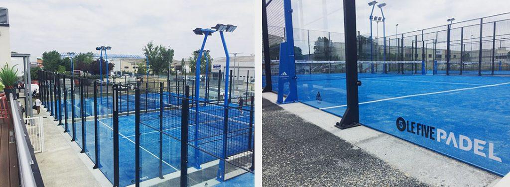 Detalle de las pistas de padel adidas instaladas en Francia en Soccer Five le Park